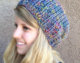 Gray and Rainbow Slouch Beanie for Men or Women