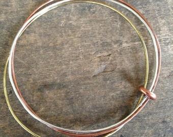 Set of Bracelets, Stacking Bracelets, Copper Bangle, Silver Bangle, Gold Bangle Joined Bracelets, Handmade Bracelet Set Boho Jewelry