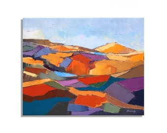 """Sunny Hills - Abstract palette knife oil painting - Yellow, blue, red, purple, gray -  abstract landscape oil painting  - 15,7"""" x 19,7"""""""