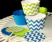 Lime Green and Blue chevron and solid Cupcake wrappers and Toppers