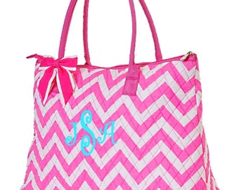 Personalized Chevron Tote Bag Hot Pink Zig Zag Pattern Quilted Overnight or Dance Bag Monogrammed FREE