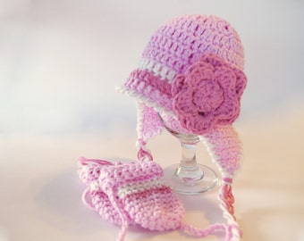Crochet Baby Earflap Hat And MITTENS Set  - Baby Beanie -  Earflap Beanie - Winter Hat - Pigtail Hat