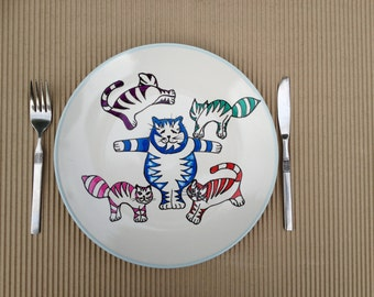 Plate-hand painted-size 11 inches in diameter- Cats- dinner plate - hand painted-Title- Circus Cats