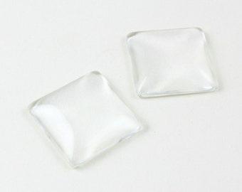20Pcs 25mm Square Glass Cabochon Cameo Cover Flat Back Cabochon (FBL25-23968)