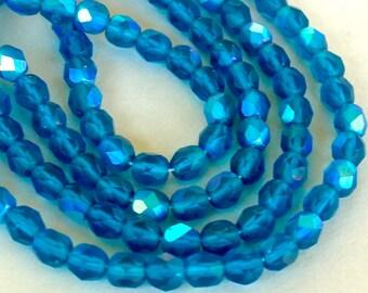"""8"""" Strand / 33 Pcs - CZECH 6mm Firepolish  Matte Blue AB Round Faceted Glass Beads - Preciosa Fire Polish Czech - USA Seller - Ref 4729"""