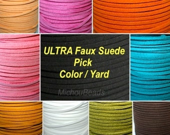 3mm ULTRA Faux Suede Lace Cord - 3x1.5mm Micro Fiber Suede Leather Cord by the Yard - Pick COLOR / LENGTH - Instant Ship from Usa