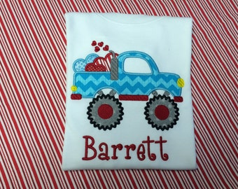 Monster Truck with Valentine Hearts - Personalized and Appliqued Shirt