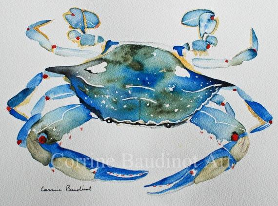 Watercolor painting of Blue Crab ocean life original art work