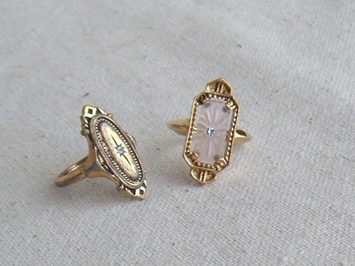 Two Vintage Gold Tone Avon Rings With White Rhinestones