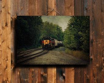 "Train - Train photography - Train art - Train canvas - Train decor - Country decor - 16x24"" canvas"