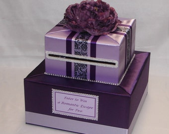 Elegant Custom Made Wedding Card Box-Eggplant-Lavender -any colors can be made