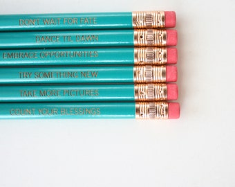 Resolution pencil set of six in teal. Inspiring engraved pencils New Year Inspiration
