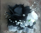 RESERVED for valorierandall Wrist Corsage boutonniere Black White Rose Silk Wedding Flowers 42 pc pkg