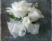 WHITE Roses WRIST Corsage Wedding Bridal flowers mother grandmother prom