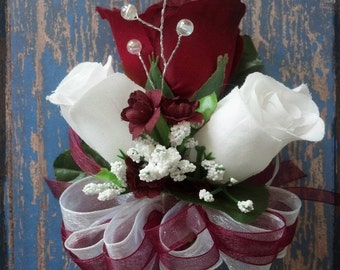 Burgundy White Roses pin-on Corsage Wedding Bridal flowers mother grandmother Apple Red