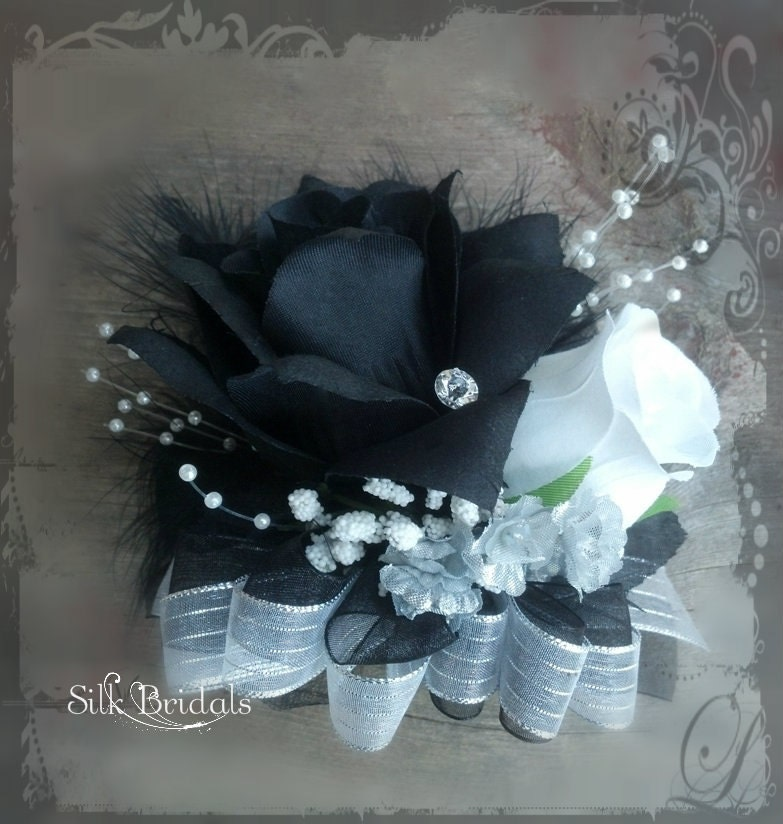 Wrist Corsage Black White Rose Silk Wedding Flowers Silver