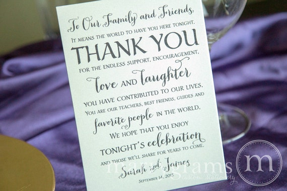 Thank You Letter For Wedding Guests: Wedding Reception Thank You Card To Your Guests To By