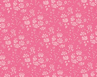 Fat eighth Liberty of London  'Capel A', bright peachy pink classic floral Liberty print