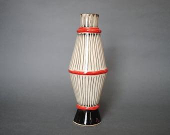 Vase with black and white stripes, Ceramic Pottery vase, Handmade