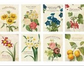 Retro Stamp Sticker Set - ver. 1- 02 Botanical  - 2 Sheets - 16 Pcs