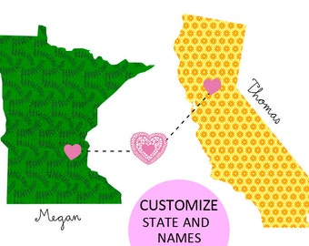 Minnesota loves California / Map custom States and Names that you want.