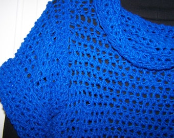 Sparkle Dark Blue Chopped Over Sweater-women's small (8-10 )