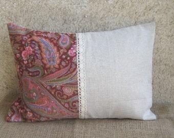 Linen Lumbar Decorative Pillow, Color block Lace Pillow Case, Gray Brick Pillow cover, Rustic Indoor Outdoor Pillow, Farmhouse Gift, 12 x16