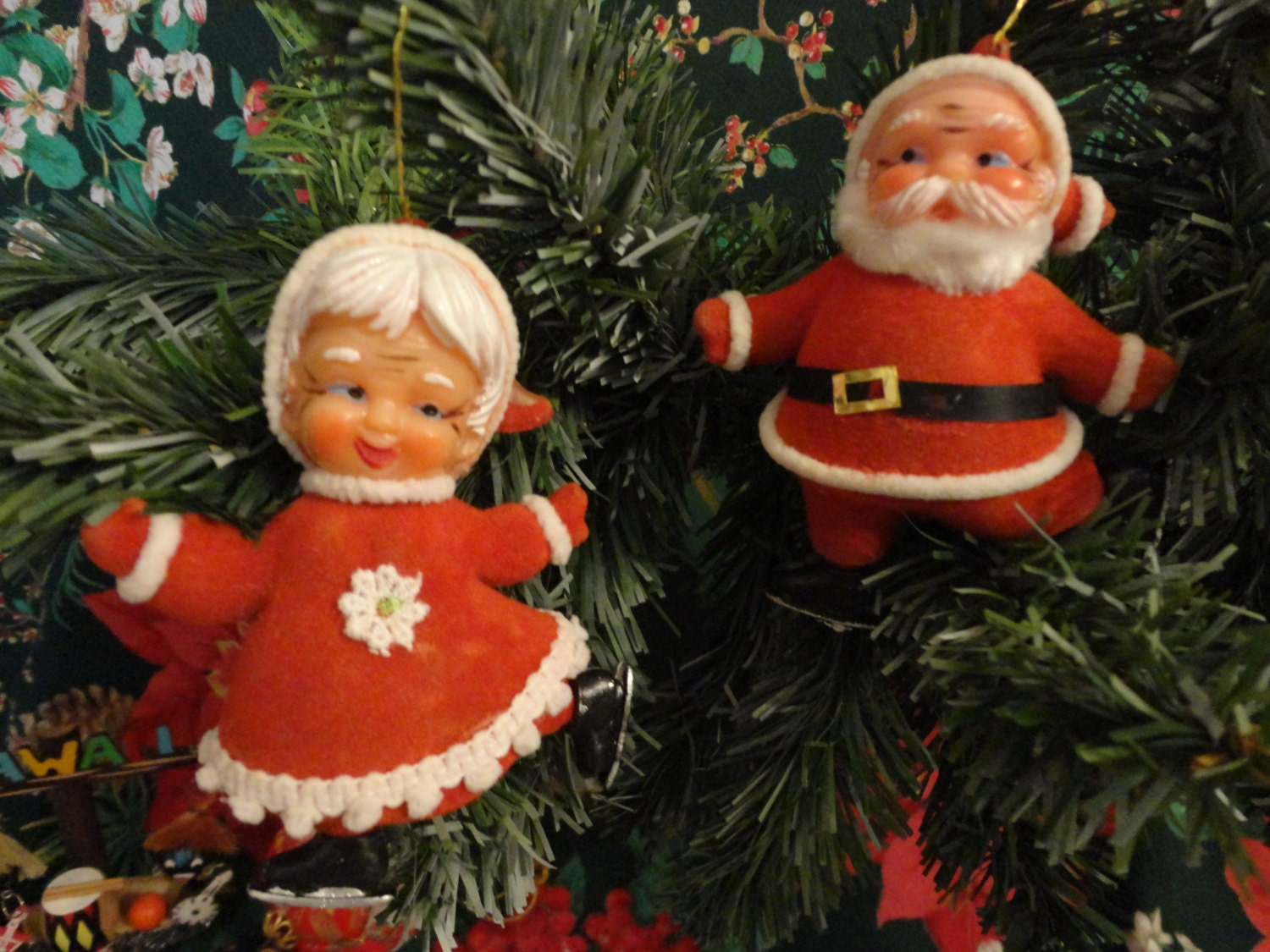 Retro christmas tree decorations - Vintage Christmas Ornaments 1960s Santa Amp Mrs Clause Figures