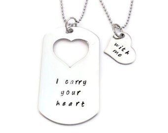 """SALE: """"I carry your heart"""", """"with me"""" his & hers dog tag and heart necklace  SET of Two by Moonstone Creations"""
