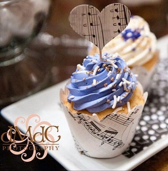 Cupcake Wraps, Vintage Wedding, Lavender and Cream, Winter Wedding, Music Theme, Music Recital, Vintage Party, Sheet Music