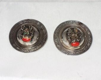 Vintage Tibetan Post Earrings - Tibetan Silver