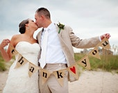 THANK YOU Burlap Banner Bunting with Red Heart, Wedding Garland