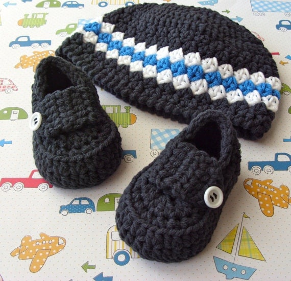 Baby Loafers, Crochet Baby Hat, Baby Boy Booties, Crochet Baby Beanie Hat, Crochet Baby Shoes, Size 0 to 3 Months