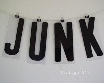 Vintage Sign Letters JUNK Black Acrylic Plastic Letters