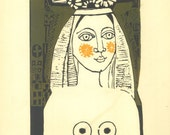 Mujer Linocut Print by Gladys Afamado, Woman,  Original Vintage Print, Wall Art