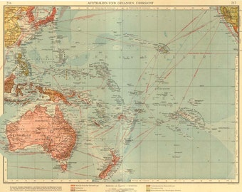 Australia and Oceania Large Vintage Map, Lithograph 1922