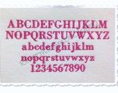 """Small Mini Georgia Machine Embroidery Font Monogram Alphabet - 1/2"""" & 3/4"""" Sizes"""