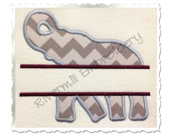 Applique Split Elephant Silhouette Machine Embroidery Design - 4 Sizes