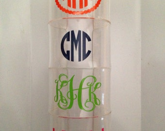 Monogrammed personalized acrylic cuff teen/women's bracelet teen/women's small
