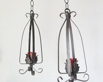 Black Wrought Iron Candle Lanterns Wedding Decor Vintage Cottage Lighting Mid Century Outdoor Lighting