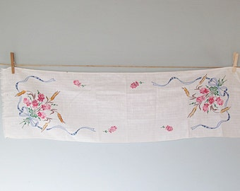 Vintage Embroidered Linen Pink Blue White with Wheat Cottage Chic Home Decor Table Runner Dresser Scarf