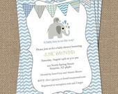 elephant baby boy shower invitation, blue/green bunting, shower invitations, digital, printable file