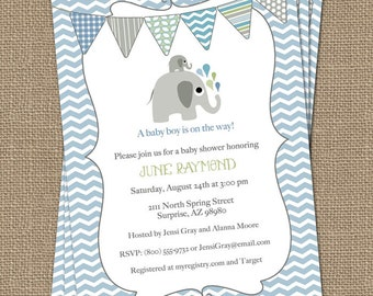 elephant baby boy shower invitation, blue/green bunting, shower invitations, digital, printable file