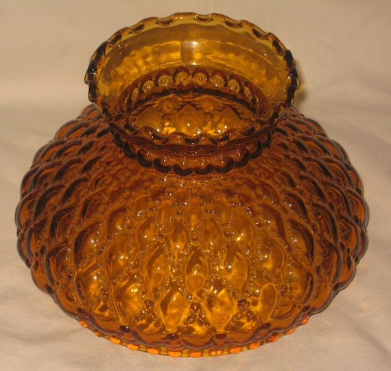 Vintage Amber Glass Lamp Shade Fenton Quilted Pattern For