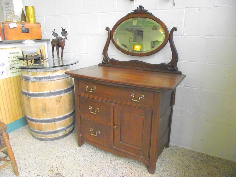 Antique Wash Stand Commode With Tilt Mirror Buffet Server