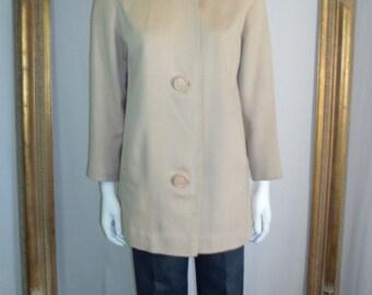 Vintage 1960's Velonda Beige Wool Jacket - Size 12