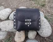 Handmade Black Leather Belt Pouch (Single)