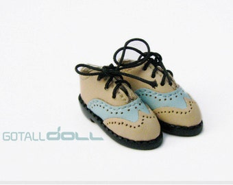 GOTALL doll handmade Two-tone Vintage Shoes for Blythe doll - doll shoes - Beige & Blue