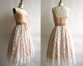 Vintage Blush Lace Party Dress . 1950s Silk, Tulle, Velvet, and Lace Dress . Size Extra Small / Small