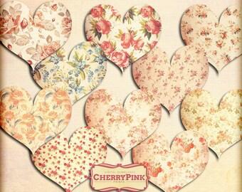 Valentine Clip art, Floral Herty PNG files, valentine decoration and digital download